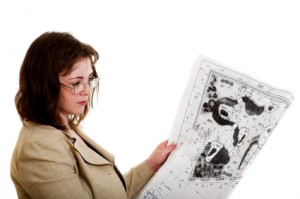 Woman with a design drawing
